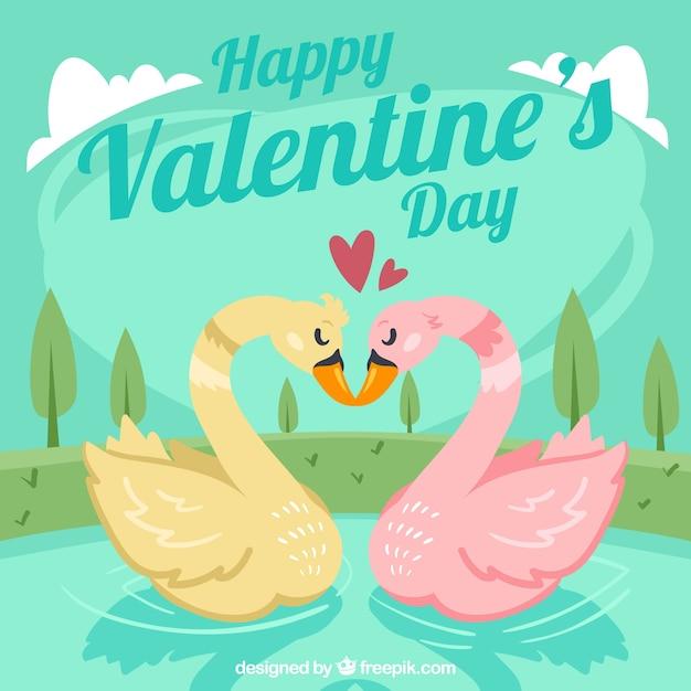 Sfondo di san valentino con due cigni Vettore gratuito