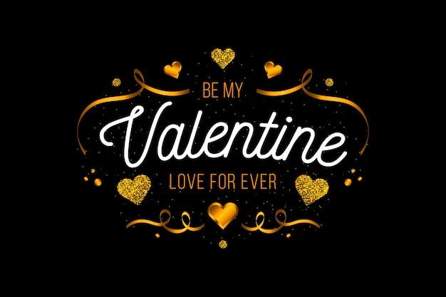 Sfondo di san valentino nastri e cuori d'oro Vettore gratuito