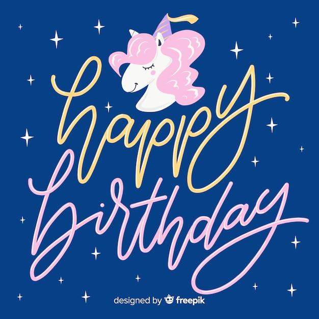 Sfondo di scritte colorate buon compleanno Vettore gratuito