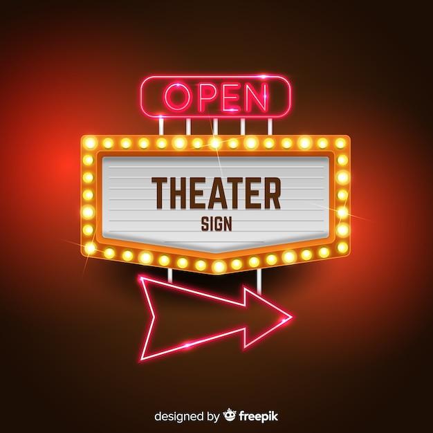 Sfondo di segno di teatro Vettore gratuito