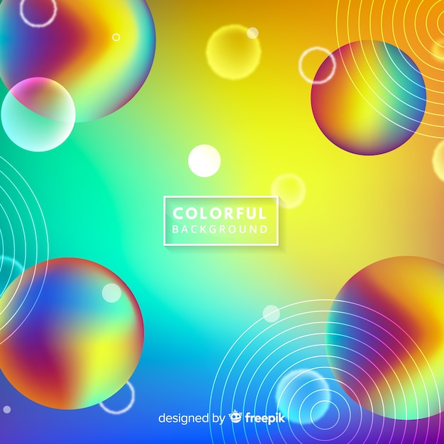 Sfondo di sfere arcobaleno Vettore gratuito