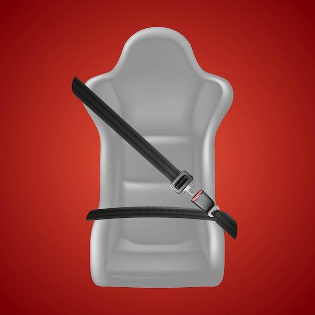 Sfondo di sicurezza in rosso. fissare il segno del sedile con cintura di sicurezza e seggiolino auto. Vettore Premium