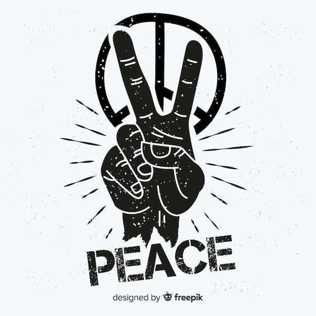 Sfondo di simbolo di pace di mano Vettore gratuito
