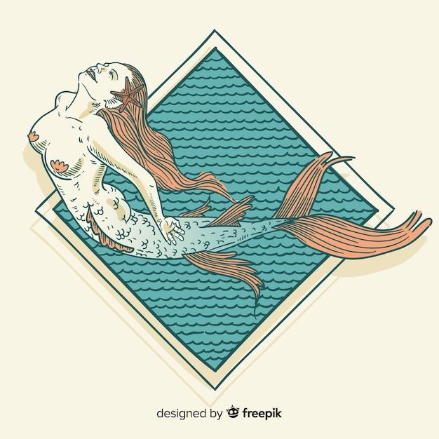 Sfondo di sirena disegnata a mano Vettore gratuito