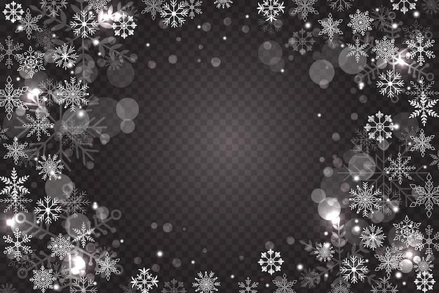 Sfondo di sovrapposizione di fiocchi di neve Vettore gratuito