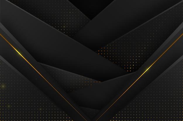 Sfondo di strati di carta scura con dettagli dorati Vettore gratuito