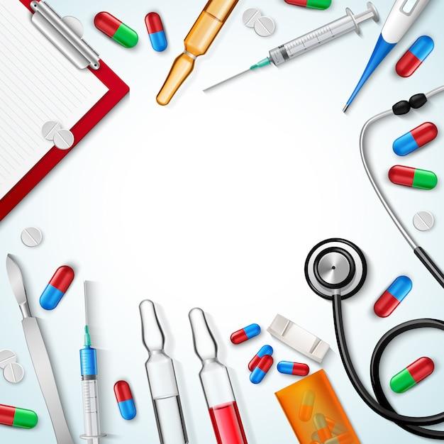 Sfondo di strumenti medici realistici Vettore gratuito