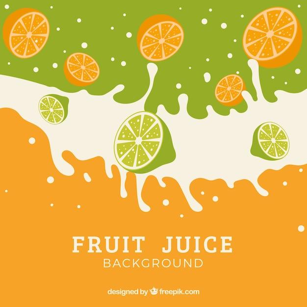 Sfondo di succo di frutta con spruzzi Vettore gratuito