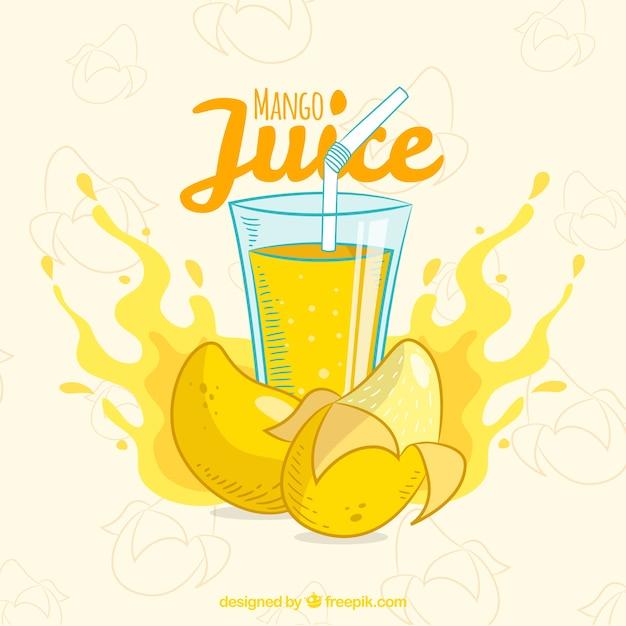 Sfondo di succo di mango disegnato a mano Vettore gratuito