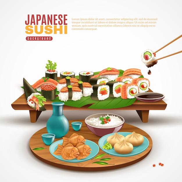 Sfondo di sushi giapponese Vettore gratuito