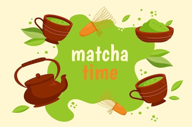 Sfondo di tè matcha disegnati a mano Vettore gratuito