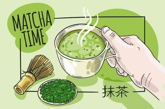 Sfondo di tè matcha stile disegnato a mano Vettore gratuito