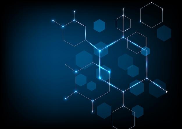 Sfondo di tecnologia a forma esagonale Vettore Premium