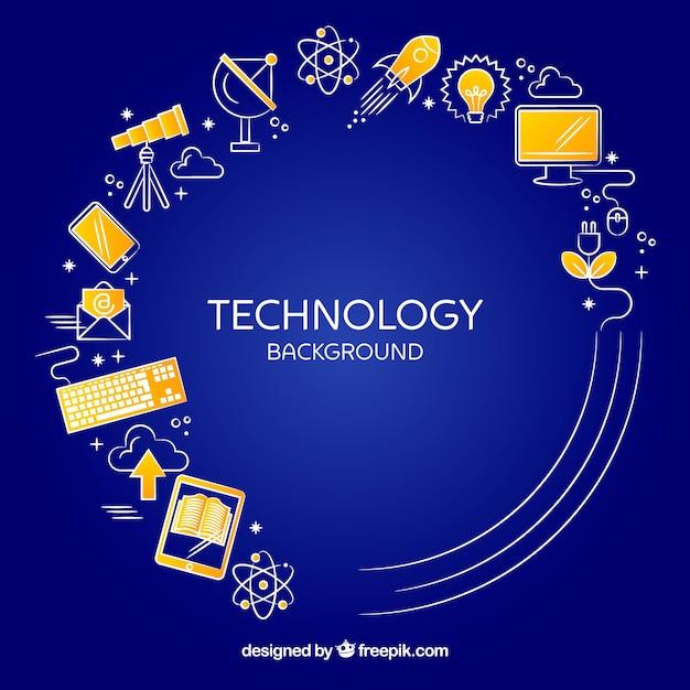 Sfondo di tecnologia con dispositivi in stile piano Vettore gratuito