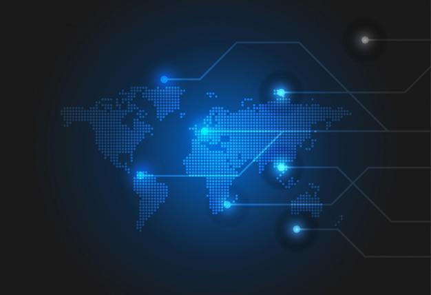 Sfondo di tecnologia con mappa del mondo tratteggiata Vettore Premium