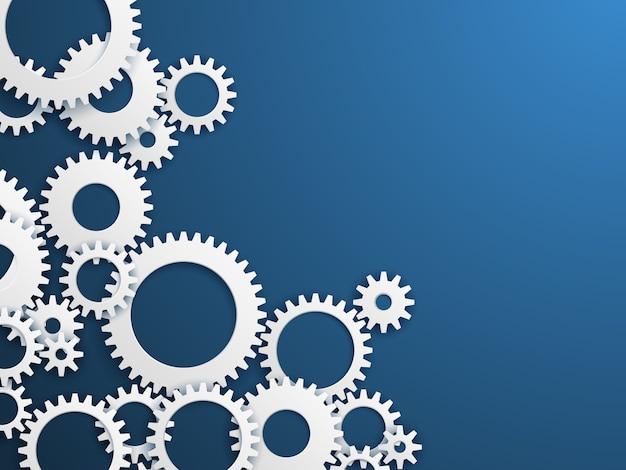Sfondo di tecnologia di ingranaggi. ruote dentate, meccanismo di industria delle ruote dentate. ingegneria Vettore Premium