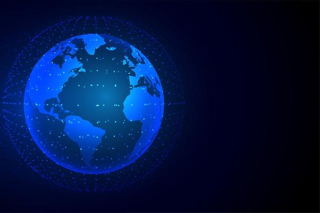 Sfondo di tecnologia terra con connessione di rete Vettore gratuito