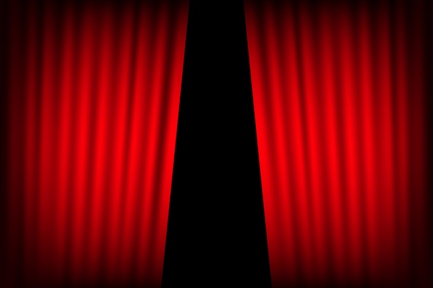 Sfondo di tende di intrattenimento per film. il bello teatro rosso ha piegato le tende sulla tenda sul palco nero. Vettore Premium