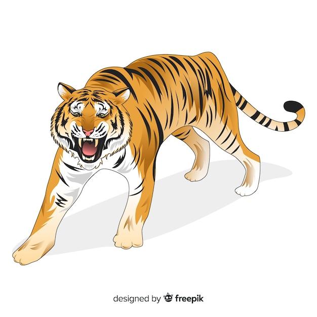 Sfondo di tigre ruggente Vettore gratuito