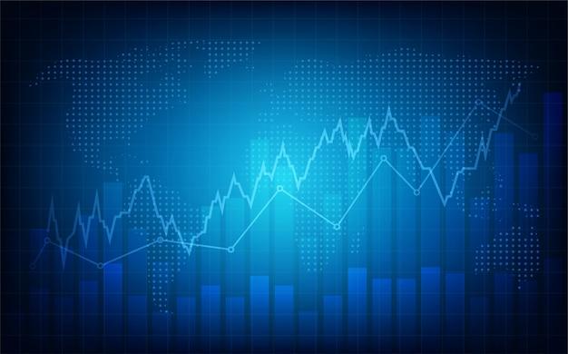 Sfondo di trading. con un'illustrazione grafica di una frequenza cardiaca blu che sta aumentando verso l'alto. Vettore Premium