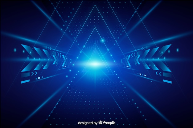 Sfondo di tunnel di luce tecnologia realistica Vettore gratuito
