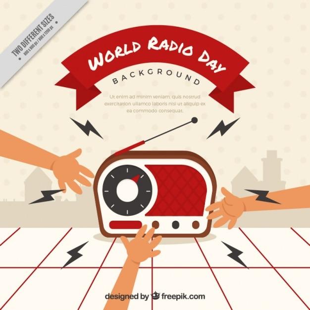 Sfondo di una radio con le mani Vettore gratuito