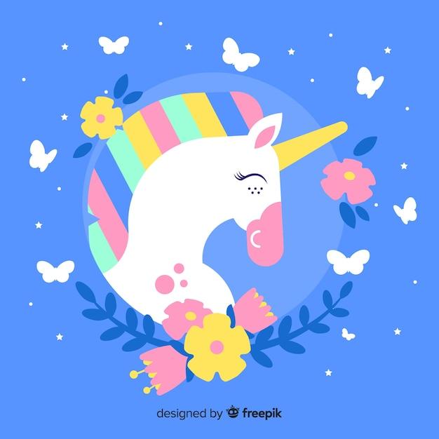 Sfondo di unicorno carino design piatto Vettore gratuito