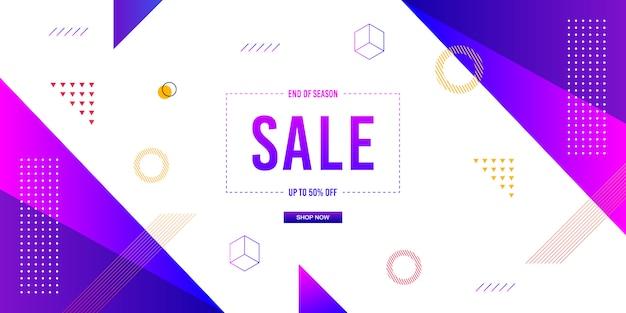 Sfondo di vendita banner memphis Vettore Premium
