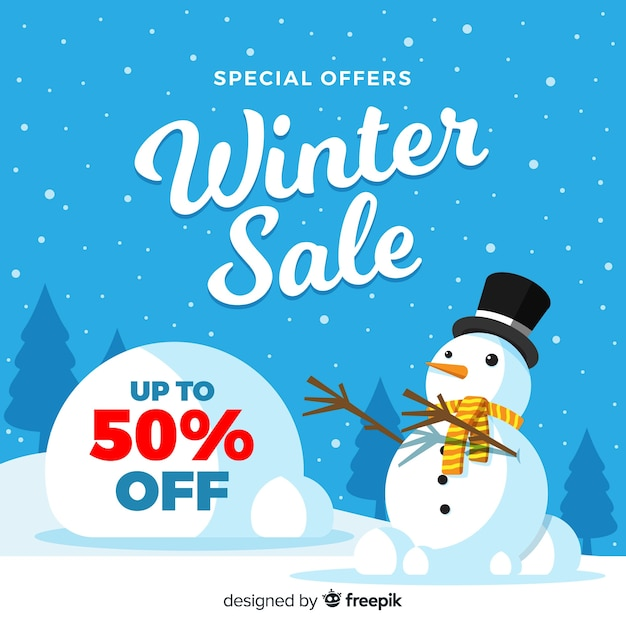 Sfondo di vendita invernale Vettore gratuito