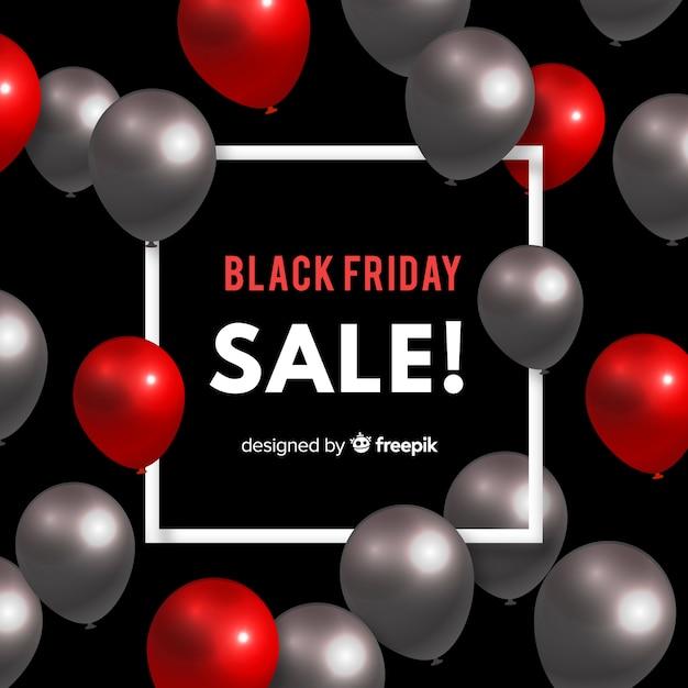 Sfondo di vendita palloncino nero venerdì Vettore gratuito