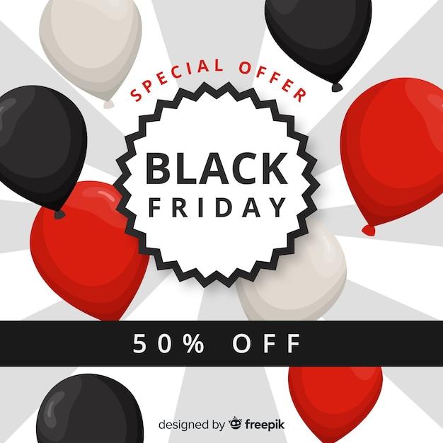 Sfondo di vendita venerdì nero con palloncini Vettore gratuito