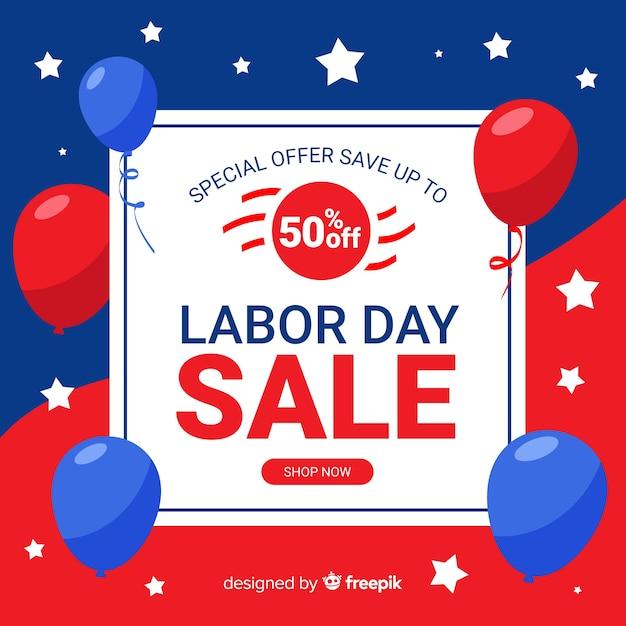 Sfondo di vendite giorno di lavoro piatto Vettore gratuito