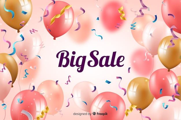 Sfondo di vendite realistiche con palloncini Vettore gratuito