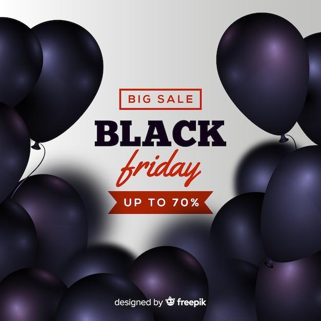 Sfondo di vendite venerdì nero con palloncini Vettore gratuito