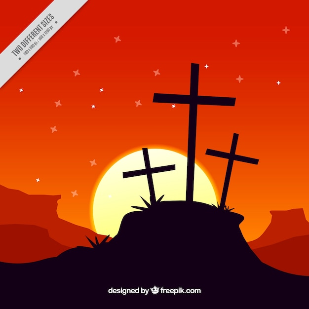 Sfondo di venerdì santo paesaggio al tramonto Vettore gratuito