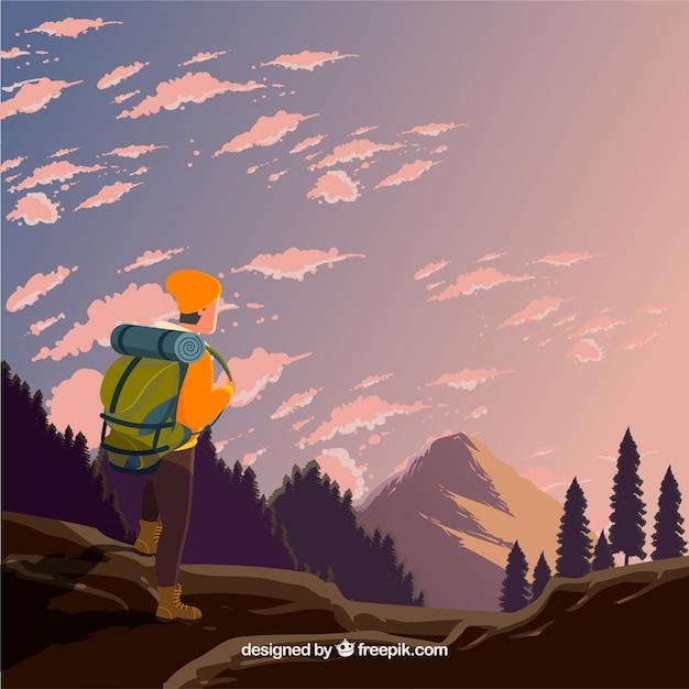 Sfondo di viaggio con escursionista Vettore gratuito