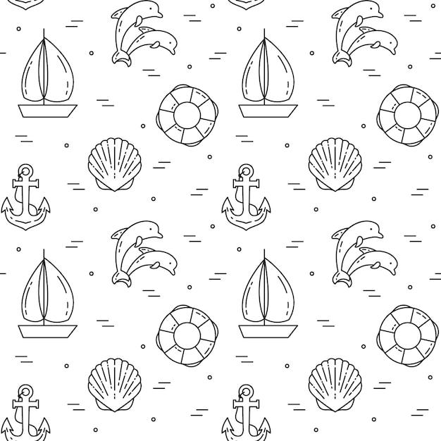 Sfondo di viaggio modello senza cuciture con barca a vela, delfini, conchiglia, ancora e salvagente. arte linea piatta. illustrazione vettoriale concetto per viaggio, turismo, agenzia di viaggi, avvolgimento di carta da parati di hotel sito web Vettore Premium