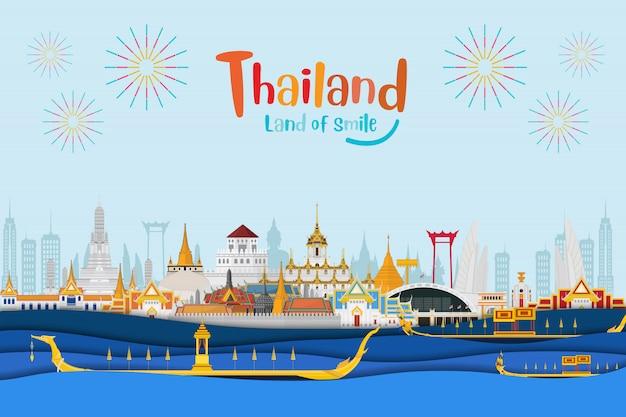 Sfondo di viaggio thailandia Vettore Premium