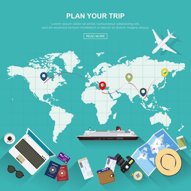 Sfondo di viaggio Vettore Premium