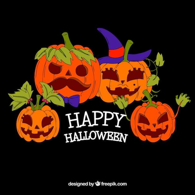 Sfondo di zucche di halloween disegnate a mano scaricare for Immagini zucche halloween