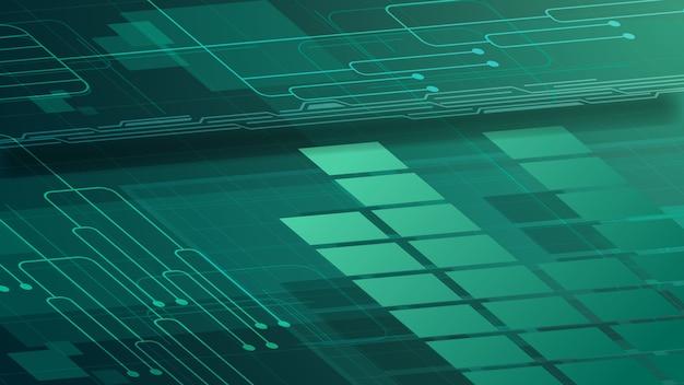 Sfondo digitale verde per la tua creatività con tracciati grafici e chip Vettore Premium