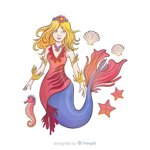 Sfondo disegnato a mano bella sirena Vettore gratuito