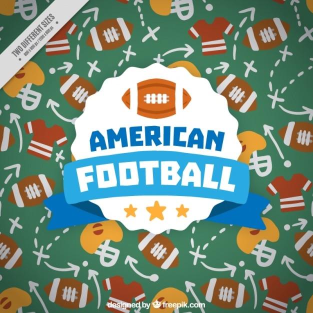 Sfondo disegnato a mano con le strategie di football americano Vettore gratuito