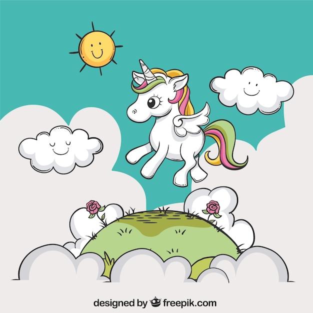 Sfondo disegnato a mano di un unicorno in un paesaggio Vettore gratuito