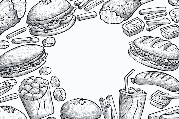 Sfondo disegnato a mano fast food Vettore gratuito
