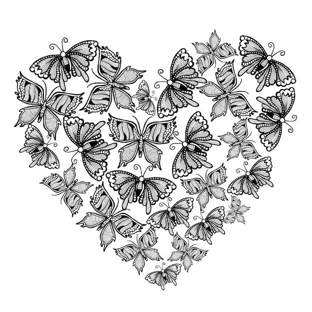 Sfondo Disegnato A Mano In Bianco E Nero Farfalle