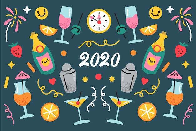 Sfondo disegnato per il nuovo anno 2020 Vettore gratuito