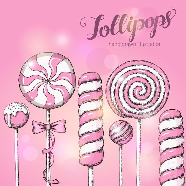Sfondo dolce con lecca-lecca sul rosa. negozio di caramelle. scritte a mano scritte. Vettore Premium
