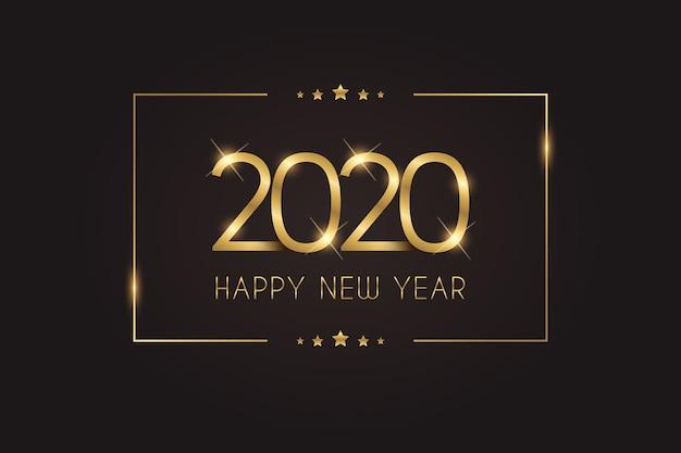 Sfondo dorato del nuovo anno 2020 Vettore gratuito