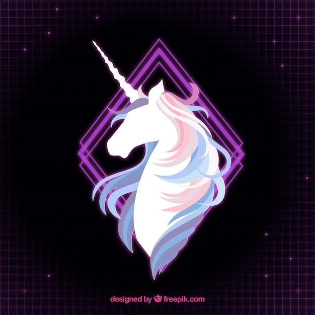 Sfondo elegante di unicorno e rombo viola Vettore gratuito